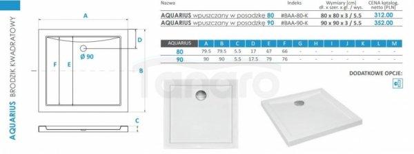 PIRAMIDA - Brodzik akrylowy 80 x 80 x 3 cm 5,5 cm AQUARIUS