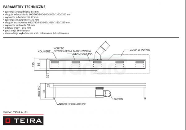 TEIRA - Odpływ liniowy CAMINO z syfonem
