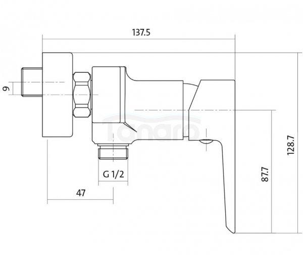 CERSANIT - Bateria natryskowa ścienna MILLE WHITE Solution S951-033