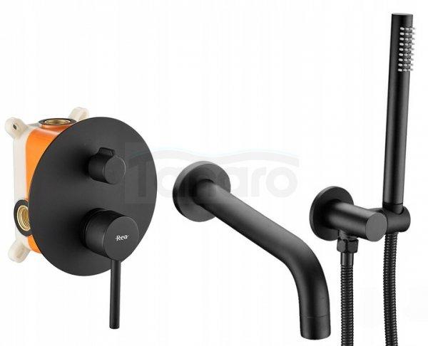 REA - Bateria wannowa podtynkowa LUNGO Black Czarny Matowy
