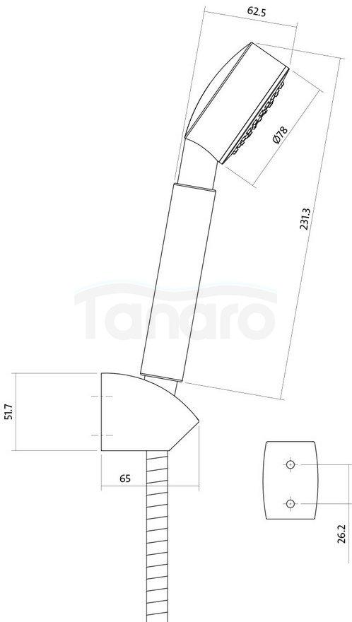 CERSANIT - Zestaw natryskowy z uchwytem punktowym ATON S951-024