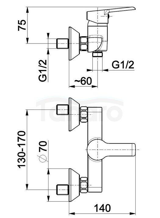 ARMATURA KRAKÓW - Bateria jednouchwytowa, natryskowa ścienna SEELIT 5816-010-00