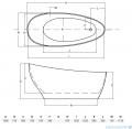 Besco Keya Glam grafit 165x70cm wanna wolnostojąca + odpływ klik-klak #WMD-165-KG