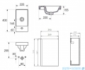 Cersanit Moduo szafka wisząca z umywalką 39x21x66 cm szara S801-217