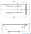 Besco Modern 120x70cm wanna prostokątna + obudowa + syfon #WAM-120-MO/#OAM-120-MO/19975