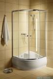 Radaway Classic A Kabina prysznicowa półokrągła z drzwiami przesuwnymi 80x80x170 szkło brązowe profile białe 30011-04-08