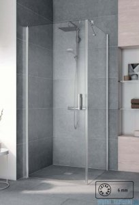 Kermi Pega Ściana boczna, szkło przezroczyste, profile srebrne 80x200cm PETWO08020VPK