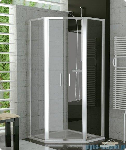 SanSwiss Top-Line Pięciokątna kabina prysznicowa TOP52 z drzwiami otwieranymi 100x100cm pas/srebrny mat TOP5271000151