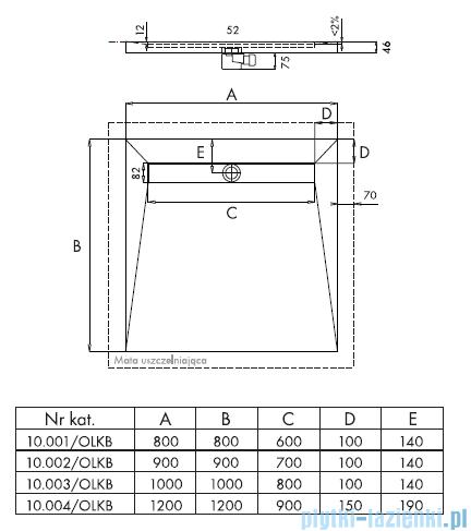 Schedpol Brodzik posadzkowy podpłytkowy z odpływem liniowym 100x100x5/12cm 10.003/OLKB