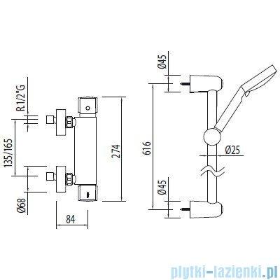 Tres Eko-Term Bateria termostatyczna natryskowa kolor chrom 090.186.02