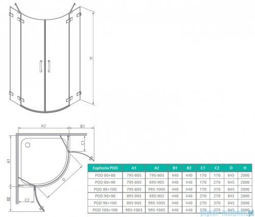 Radaway Euphoria PDD Kabina prysznicowa 80 część lewa szkło przejrzyste rysunek techniczny