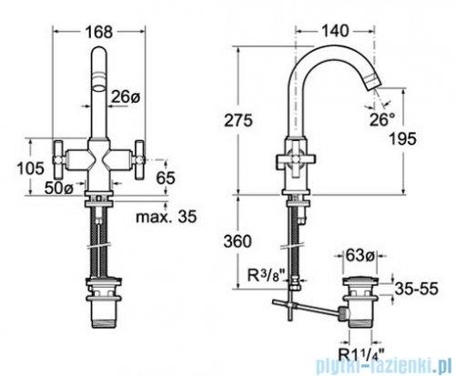 Roca Loft Bateria umywalkowa sztorcowa A5A3043C00