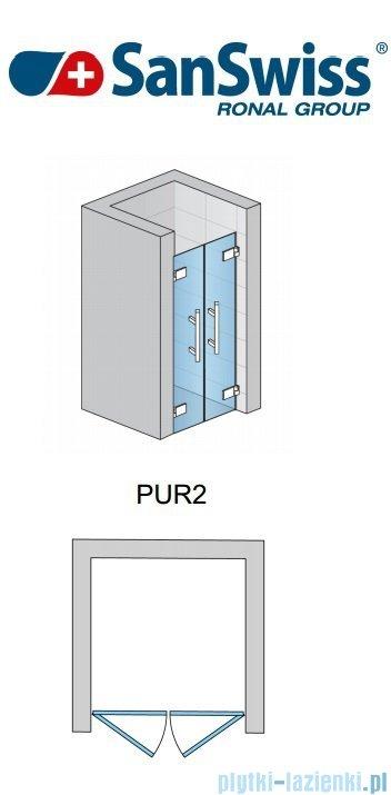 SanSwiss Pur PUR2 Drzwi 2-częściowe wymiar specjalny profil chrom szkło Efekt lustrzany PUR2SM21053