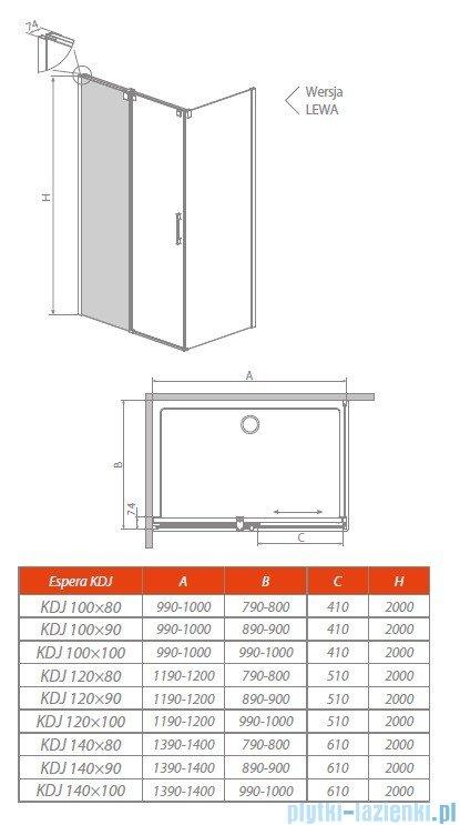 Radaway Espera KDJ Mirror kabina prysznicowa 100x80 lewa szkło przejrzyste 380495-01L/380230-71L/380148-01R