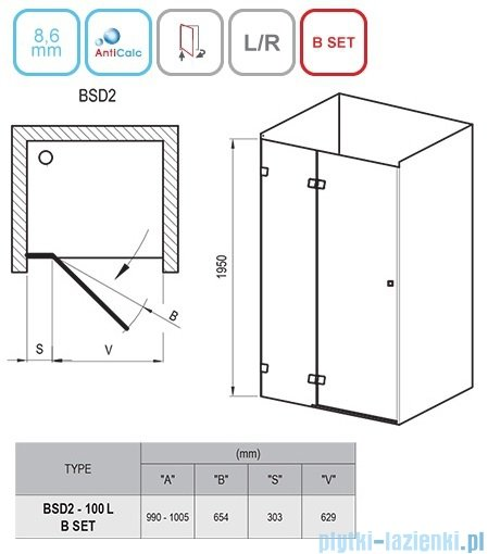 Ravak Brilliant BSD2 drzwi prysznicowe 100cm lewe transparent 0ULAAA00Z1