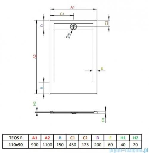 Radaway Teos F brodzik 110x90cm biały HTF11090-04