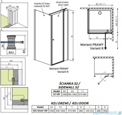 Radaway Eos II KDJ kabina prysznicowa 100x100 prawa szkło przejrzyste + brodzik Delos C + syfon 3799422-01R/3799432-01L/SDC1010-01