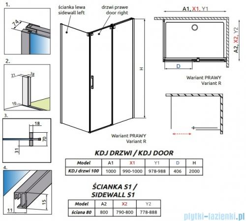 Espera KDJ Kabina Radaway prysznicowa 100x80 prawa szkło przejrzyste rysunek techniczny