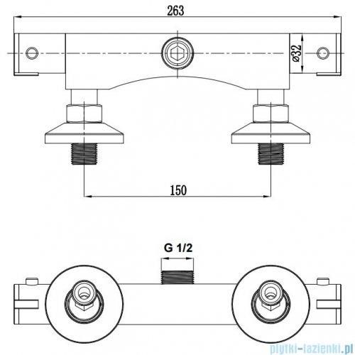 Omnires Mini bateria prysznicowa termostatyczna chrom MI1546CR
