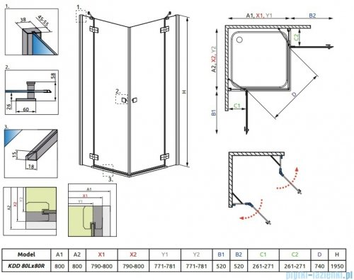 Radaway Almatea Kdd Kabina kwadratowa 80x80 szkło grafitowe 32162-01-05N