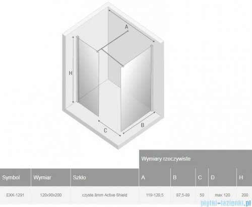 New Trendy New Modus Black kabina Walk-In 120x90x200 cm przejrzyste EXK-1291