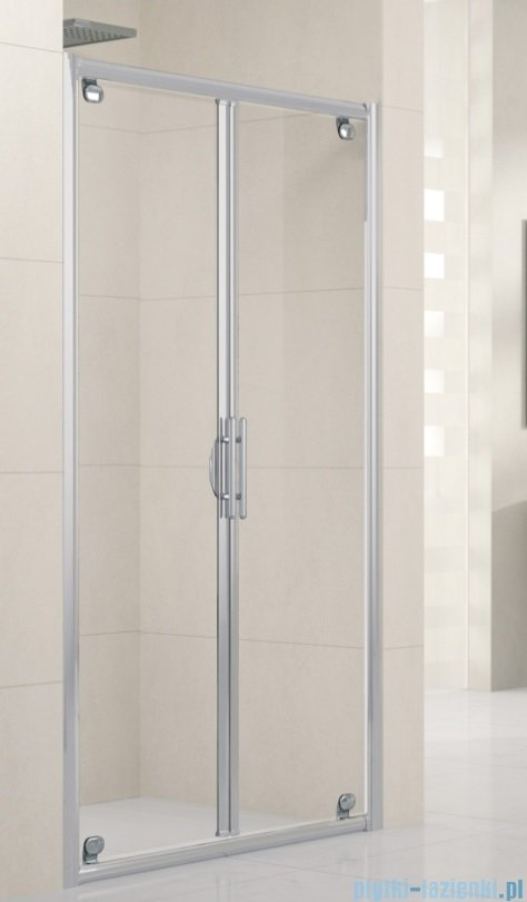 Novellini Drzwi prysznicowe składane LUNES B 78 cm szkło przejrzyste profil srebrny LUNESB78-1B