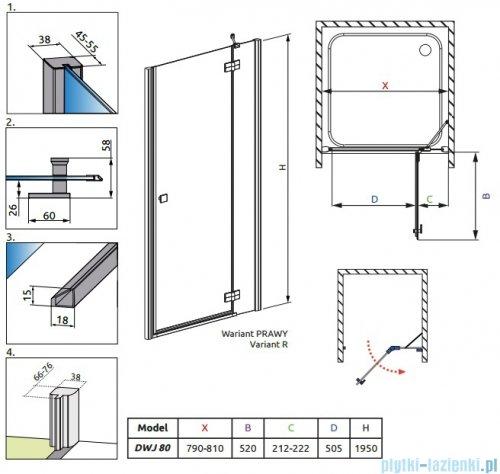 Radaway Almatea DWJ Drzwi wnękowe 80 Prawe szkło przejrzyste 30902-01-01N