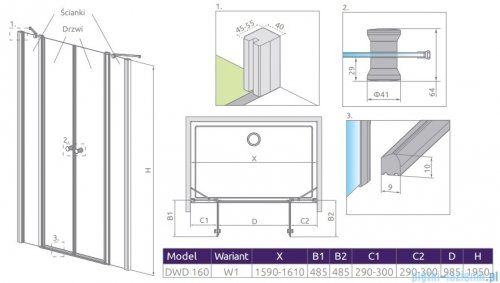 Radaway Eos II Dwd drzwi prysznicowe 160x195 W1 szkło przejrzyste 3799103-01-01/3799570-01-01
