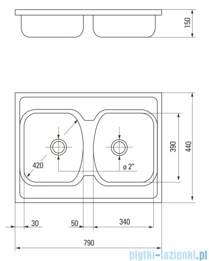 Deante Techno zlewozmywak 2-komorowy bez ociekacza 79x44 cm dekor ZMU 3200