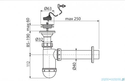 Alcaplast syfon umywalkowy DN40, sitko nierdzewne DN63, korek z łańcuszkiem A41R