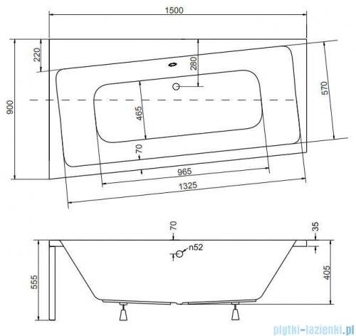 Besco Infinity 150x90cm wanna asymetryczna lewa + obudowa + syfon #WAI-150-NL/OAI-150-NS/19975