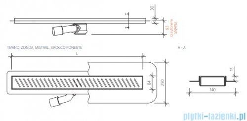 Wiper New Premium Ponente Odpływ liniowy z kołnierzem 80 cm poler rysunek techniczny
