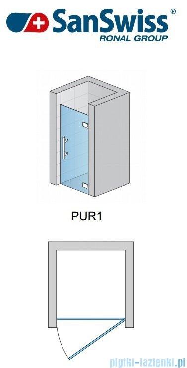 SanSwiss Pur PUR1 Drzwi 1-częściowe wymiar specjalny profil chrom szkło przejrzyste Prawe PUR1DSM21007
