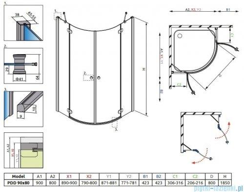 Radaway Torrenta PDD E Kabina prysznicowa 90x80 szkło przejrzyste + Brodzik Siros E Compact prawy + syfon rysunek techniczny