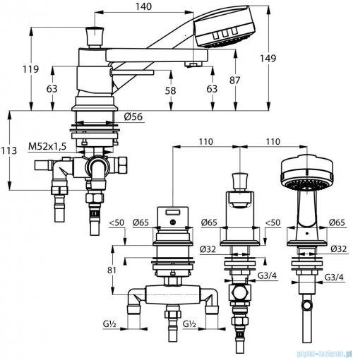 Kludi Zenta Jednouchwytowa bateria wannowo-natryskowa DN 15 wylewka 220mm chrom 384470575