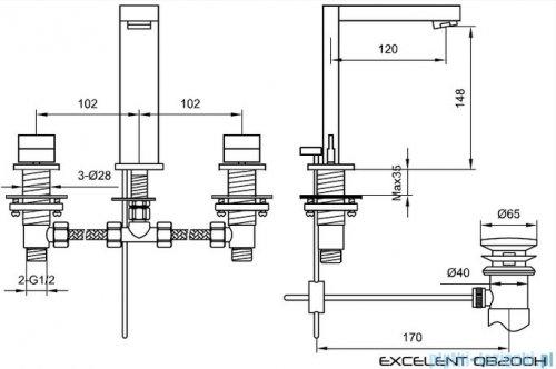 Kohlman Excelent 3-otworowa bateria umywalkowa QB200H