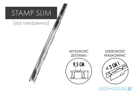 Schedpol Slim Lux odpływ liniowy z maskownicą Stamp Slim 70x3,5x9,5cm OLSP70/SLX