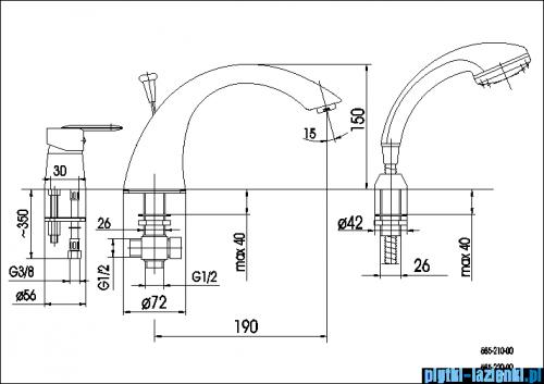 KFA CYRKON bateria wannowa trójotworowa CHROM 585-210-00