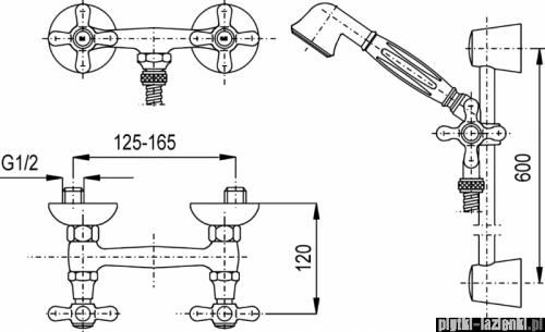 KFA RETRO bateria natryskowa CHROM 376-340-00