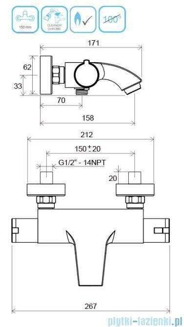 Ravak Termo bateria wannowa ścienna termostatyczna X070046