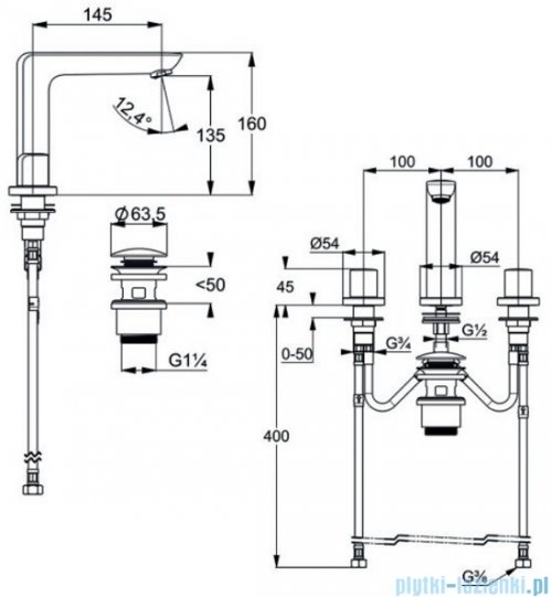 Kludi AMEO bateria umywalkowa 3-otworowa chrom 413930530