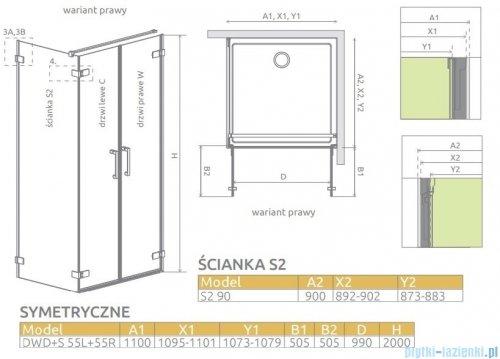 Radaway Arta Dwd+s kabina 110x90cm prawa szkło przejrzyste 386183-03-01R/386058-03-01L/386111-03-01
