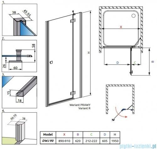 Radaway Almatea DWJ Drzwi wnękowe 90 Prawe szkło przejrzyste 31102-01-01N
