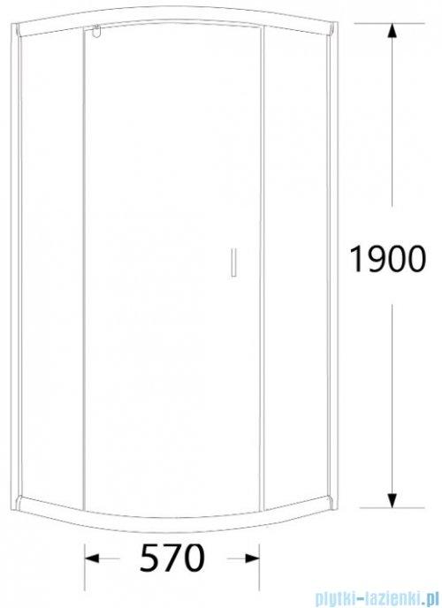 Sea Horse Stylio kabina natryskowa półokrągła jednoskrzydłowa 90x90x190 cm chinchila BK502RC+