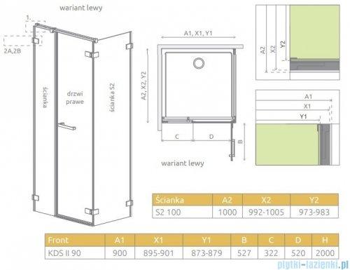 Radaway Arta Kds II kabina 90x100cm lewa szkło przejrzyste 386521-03-01R/386101-03-01/386112-03-01