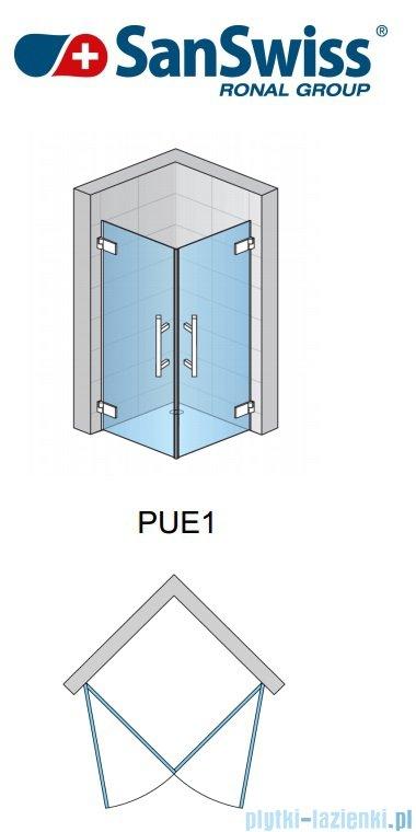 SanSwiss Pur PUE1 Wejście narożne 1-częściowe 40-100cm profil chrom szkło Pas satynowy Lewe PUE1GSM11051