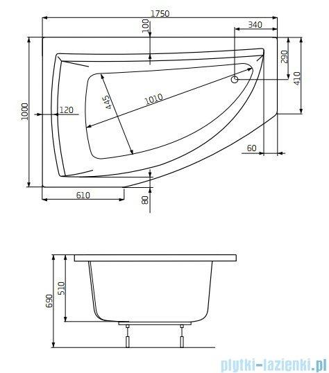 Roca Aquamarina wanna 175x100cm lewa z hydromasażem Smart WaterAir Plus rysunek techniczny