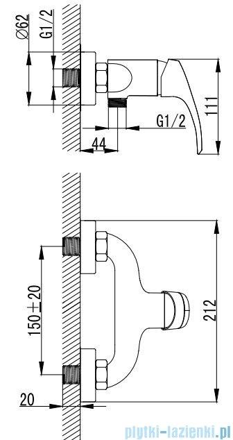 Omnires Parana bateria natryskowa chrom PN6240CR