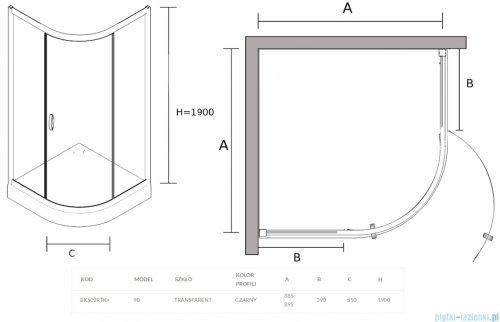 Sea Horse Stylio Black kabina natryskowa półokrągła jednoskrzydłowa 90x90x190 cm grafit BK502RGK+