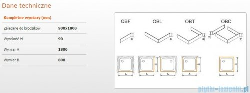 Sanplast Obudowa brodzika OBL 90x180x9 cm 625-400-1610-01-000